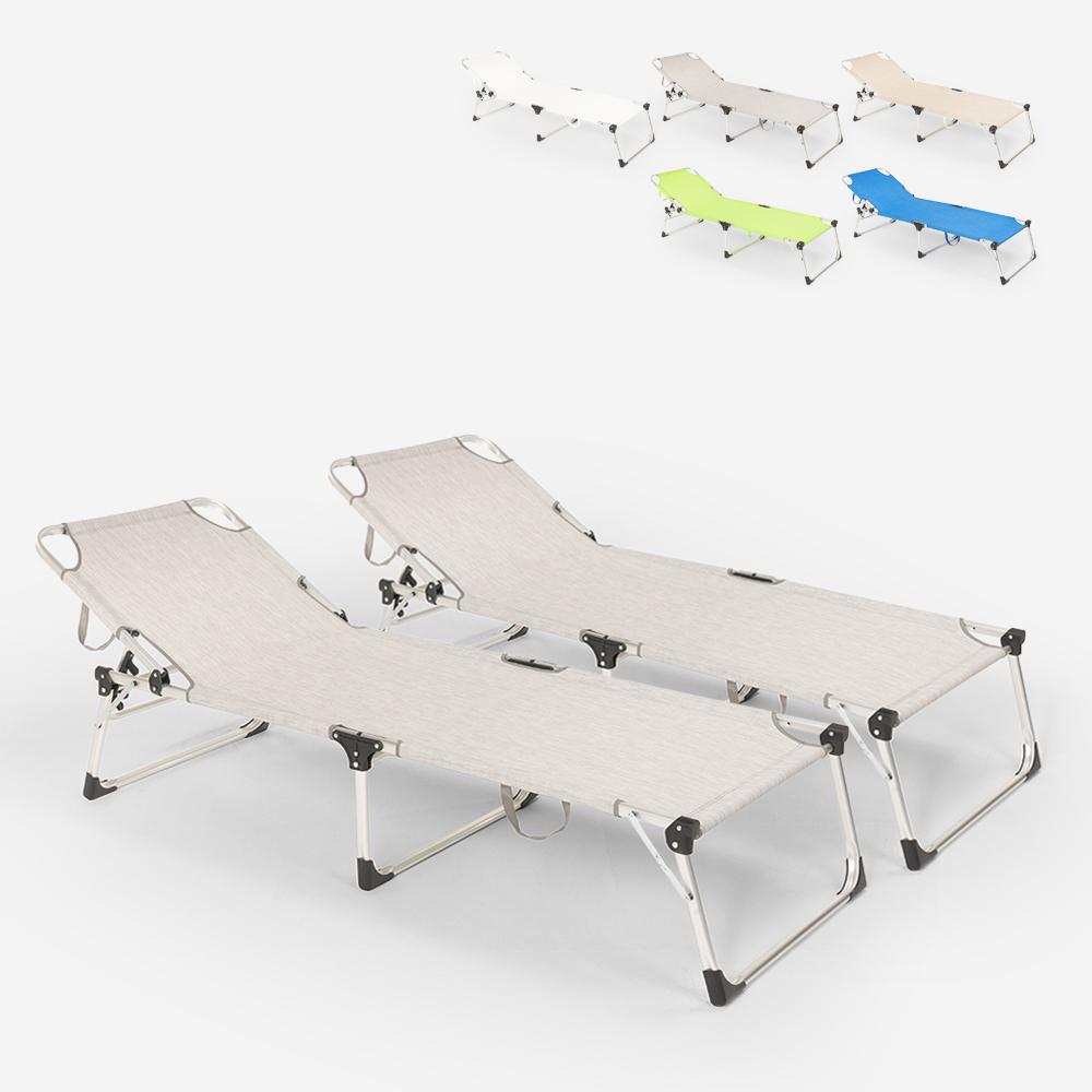 Lot de 2 chaises longues pliantes de jardin de plage en aluminium Seychelles
