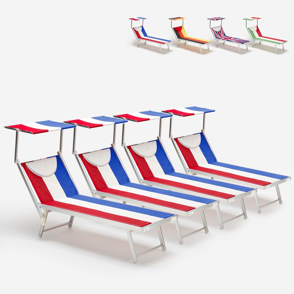 4 transats de plage professionnels en aluminium Santorini Europe