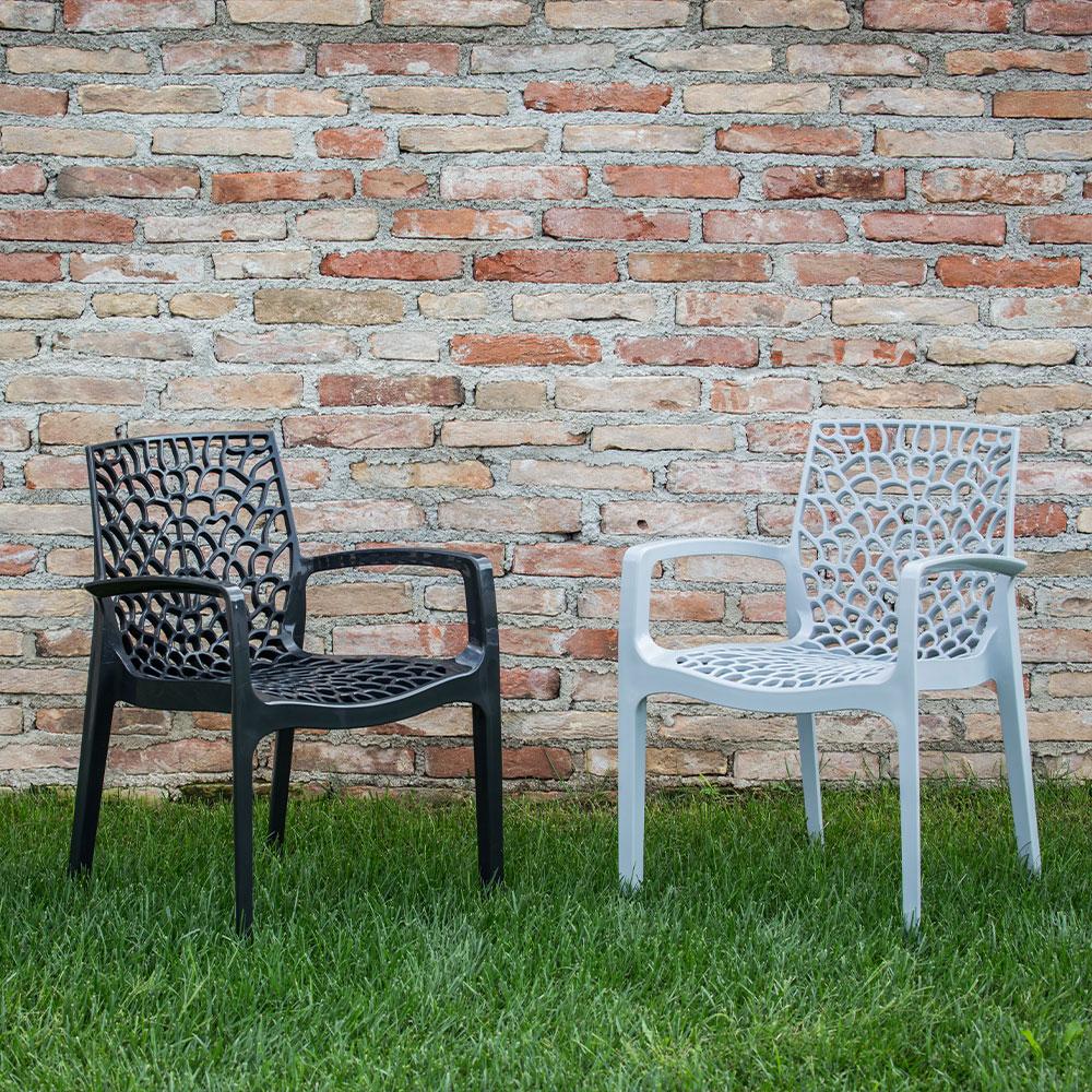 miniature 90 - Chaise en polypropylène accoudoirs jardin café Grand Soleil Gruvyer Arm