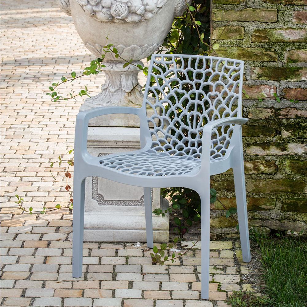 miniature 55 - Chaise en polypropylène accoudoirs jardin café Grand Soleil Gruvyer Arm