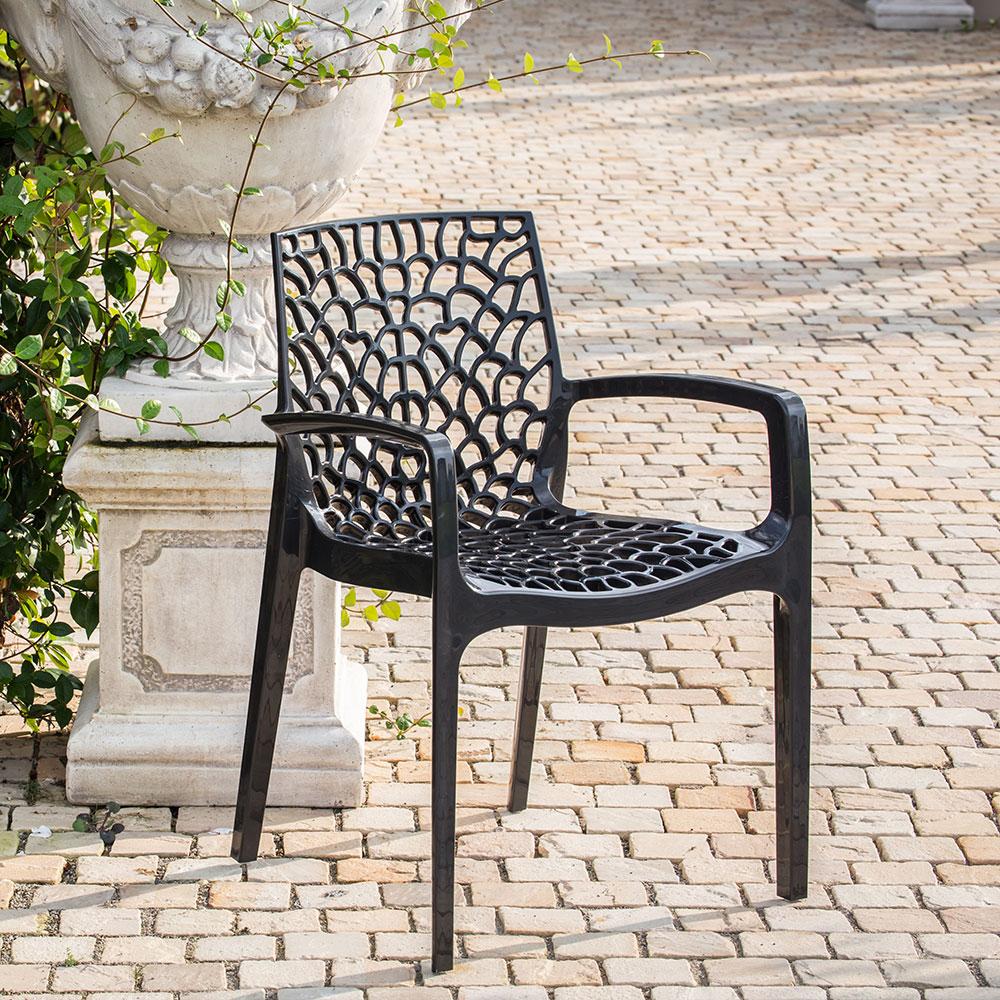miniature 101 - Chaise en polypropylène accoudoirs jardin café Grand Soleil Gruvyer Arm