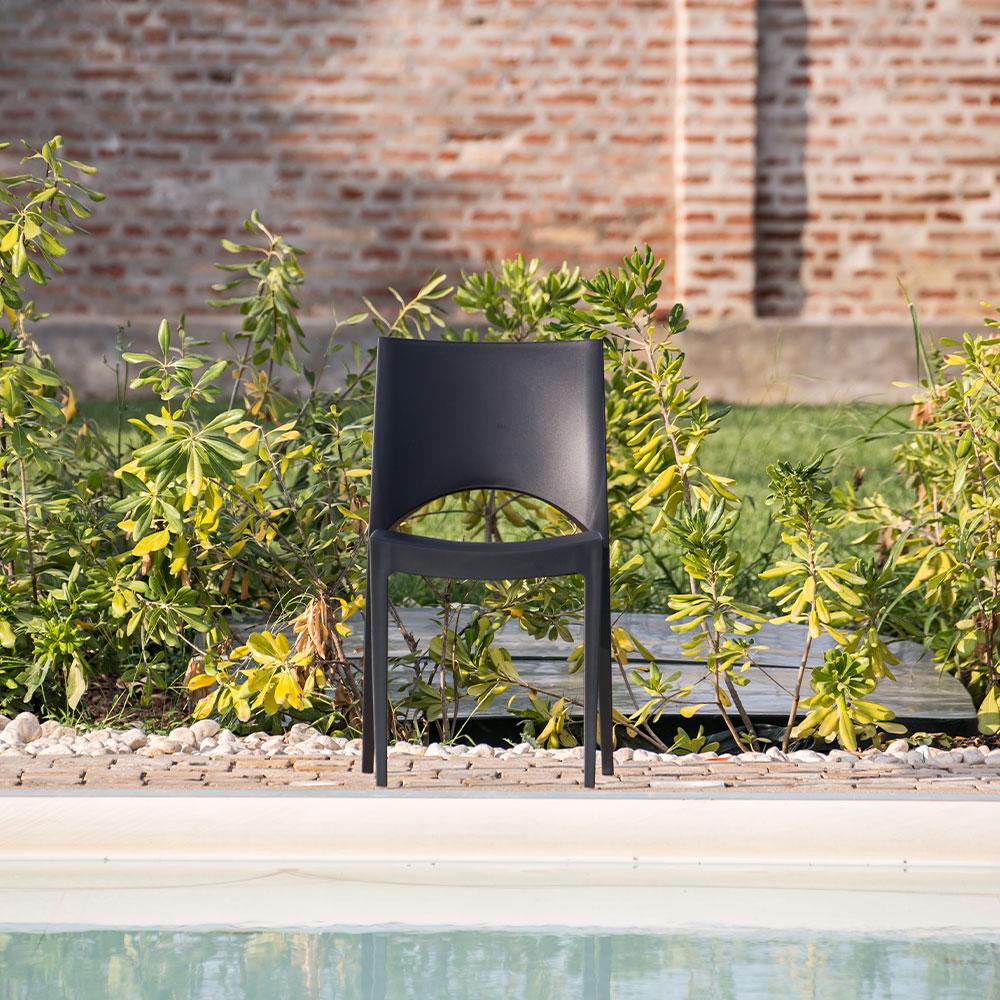 miniature 57 - Chaise en polypropylène empilable salle à manger bar Paris Grand Soleil