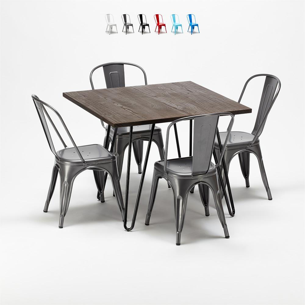 Ensemble table et chaises carrées en métal et bois de style industriel Tolix Pigalle