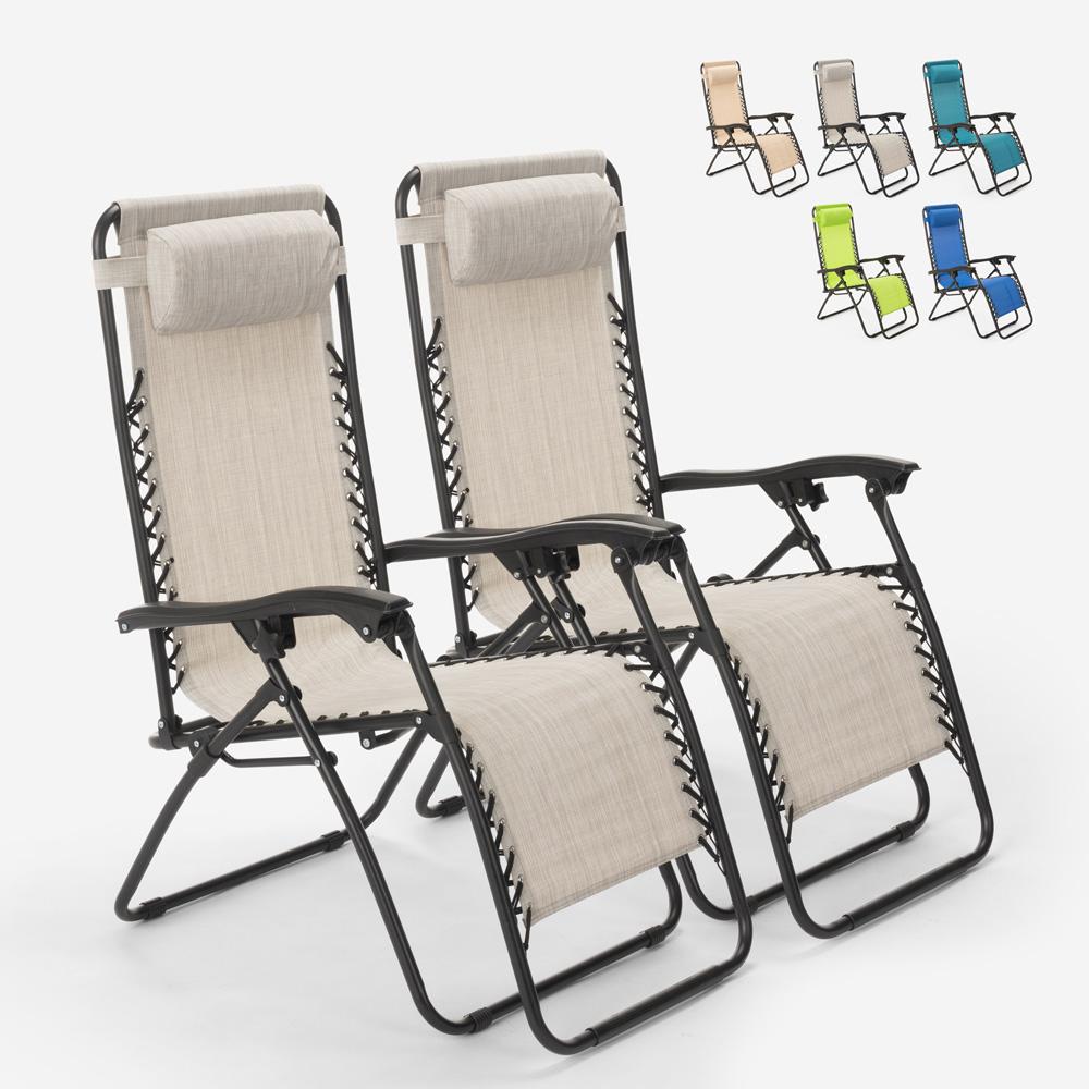 2 chaises de plage de jardin pliantes multi-positions Emily Zero Gravity