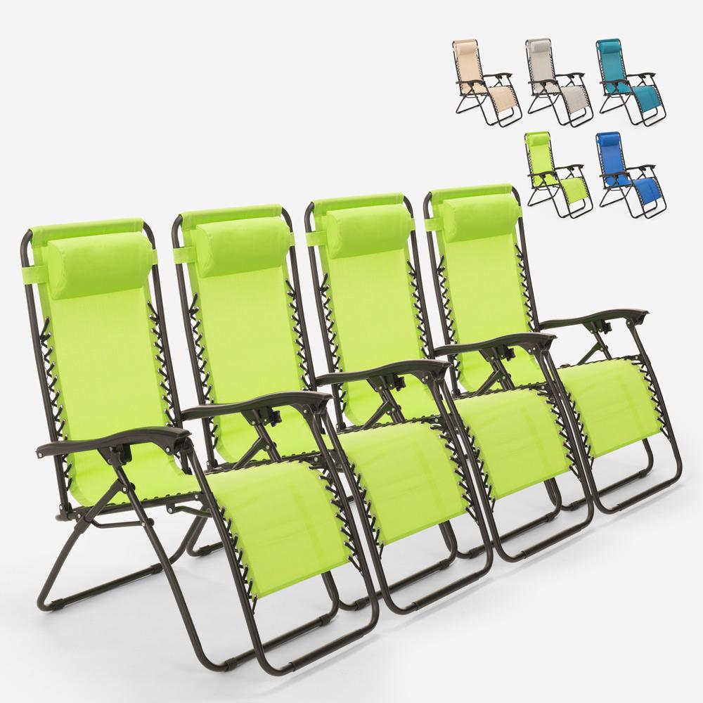 4 chaises de plage de jardin pliantes multi-positions Emily Zero Gravity