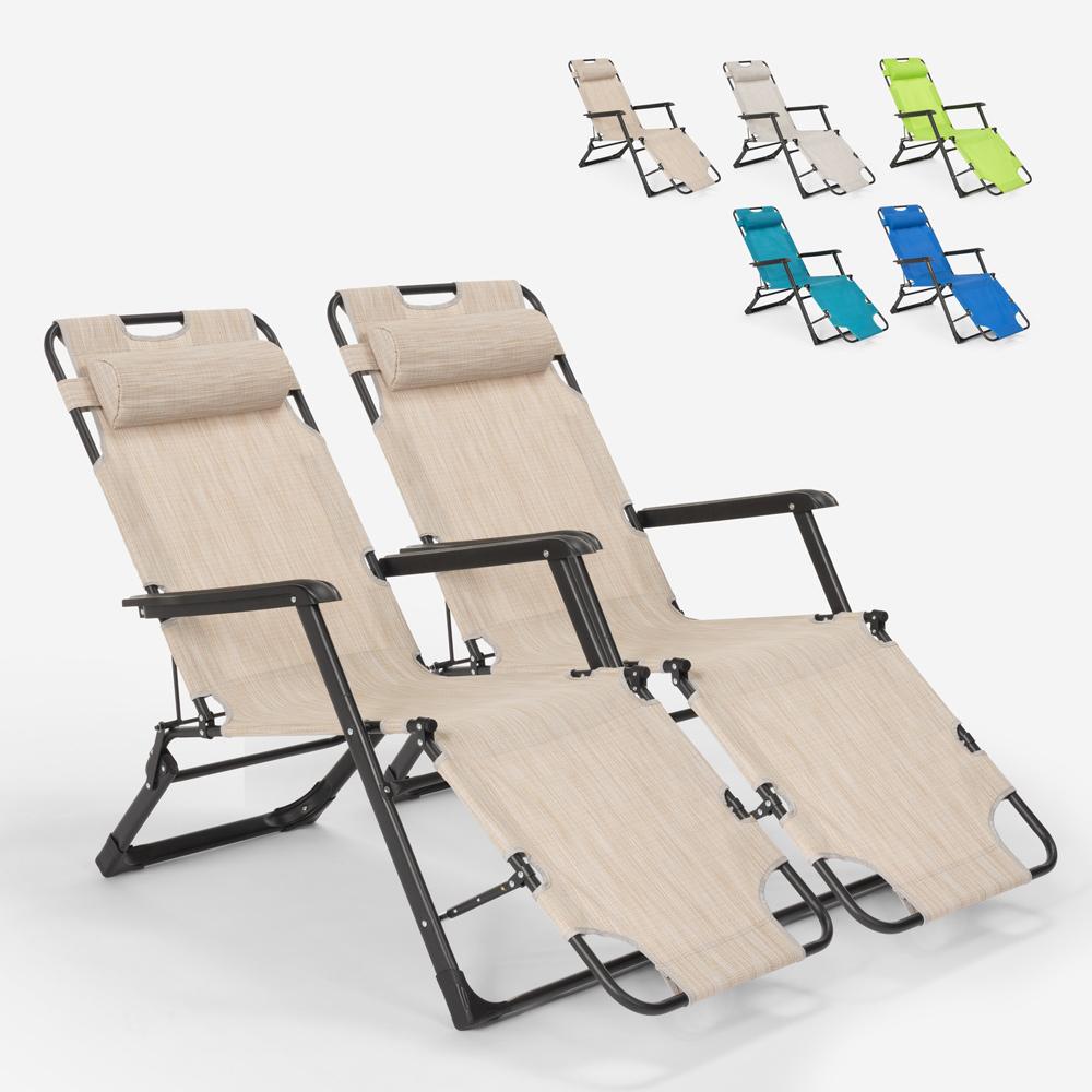 2 chaises de plage de jardin pliantes multi-positions Emily Lux Zero Gravity