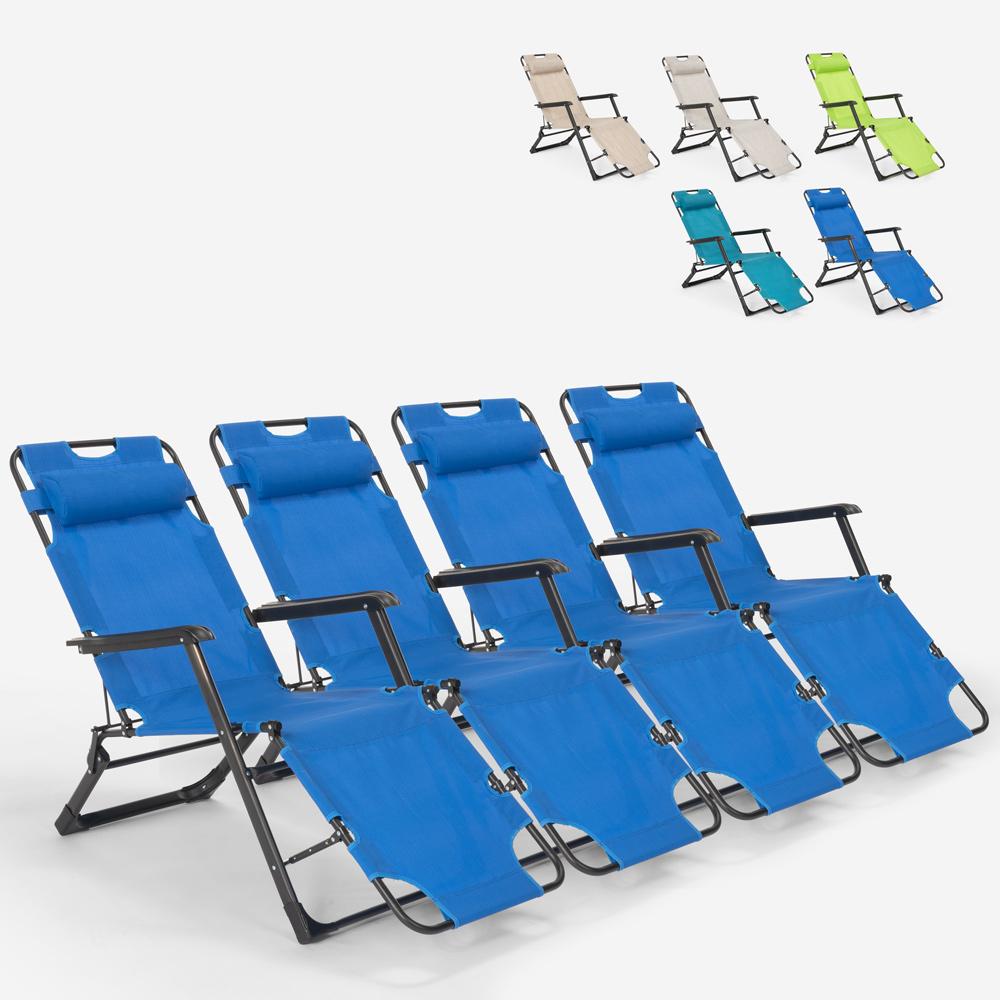 4 chaises de plage de jardin pliantes multi-positions Emily Lux Zero Gravity