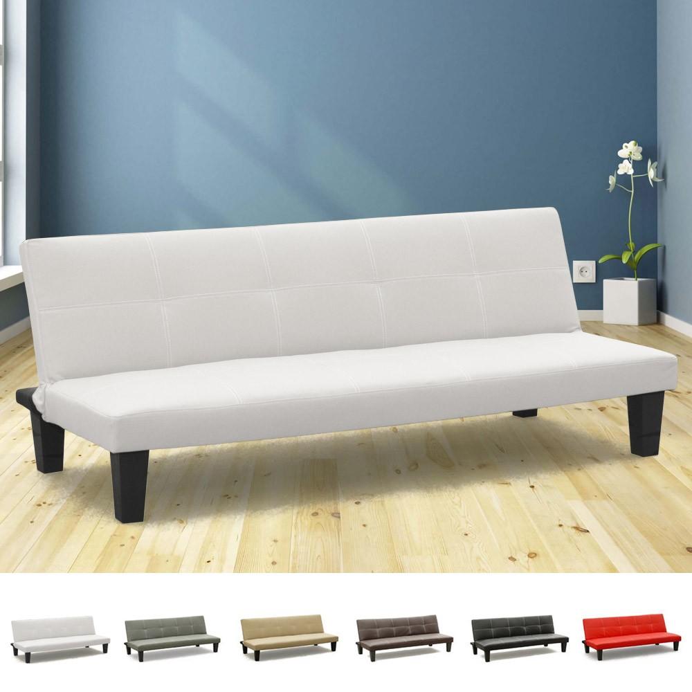 miniature 14 - Canapé Clic Clac convertible 3 places similicuir économique Topazio