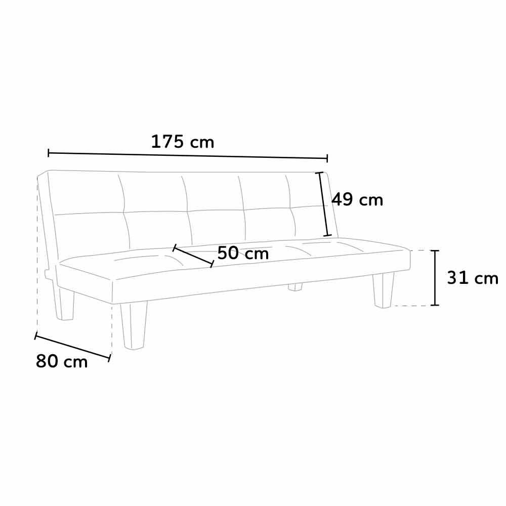 miniature 37 - Canapé Clic Clac convertible 3 places similicuir économique Topazio
