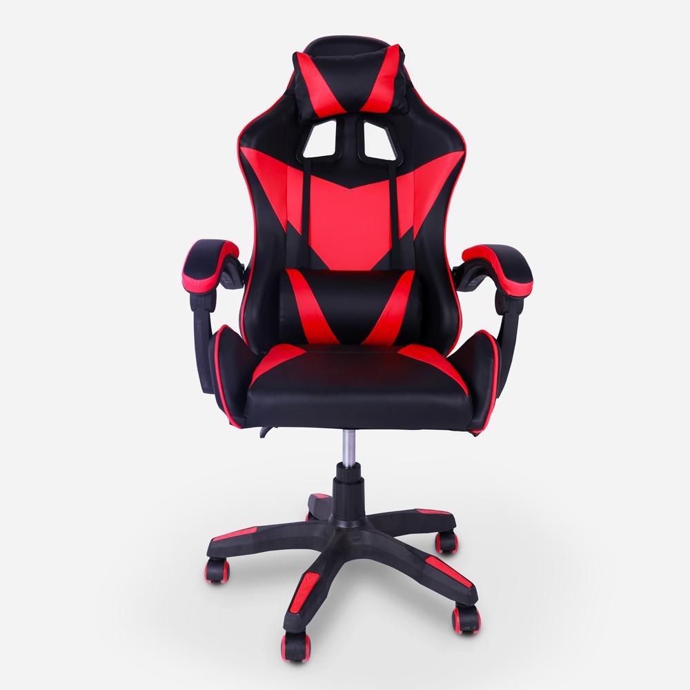 Chaise de jeu ergonomique avec appui-tête et coussin lombaire Understop Fire