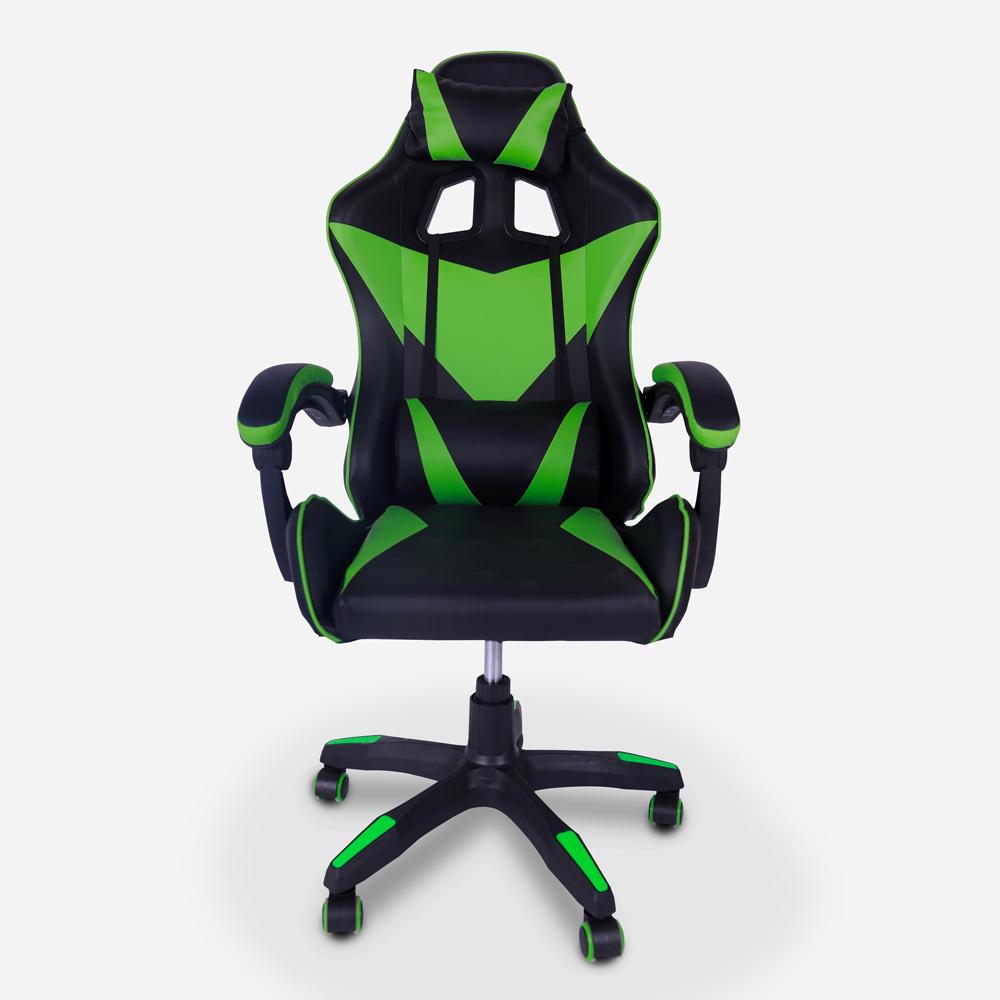 Chaise de jeu ergonomique et coussin appui-tête lombaire Understop Emerald