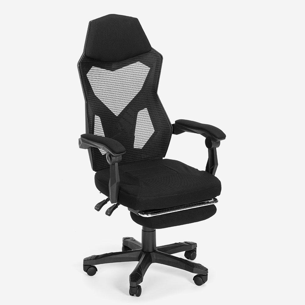 Fauteuil gamer design futuriste repose-pieds ergonomique respirant Gordian Plus Dark