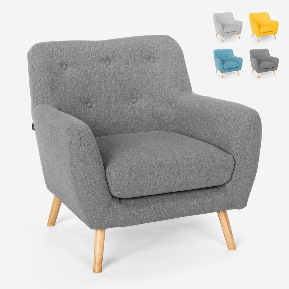 Chaise longue design moderne de style nordique en bois et tissu Modesto