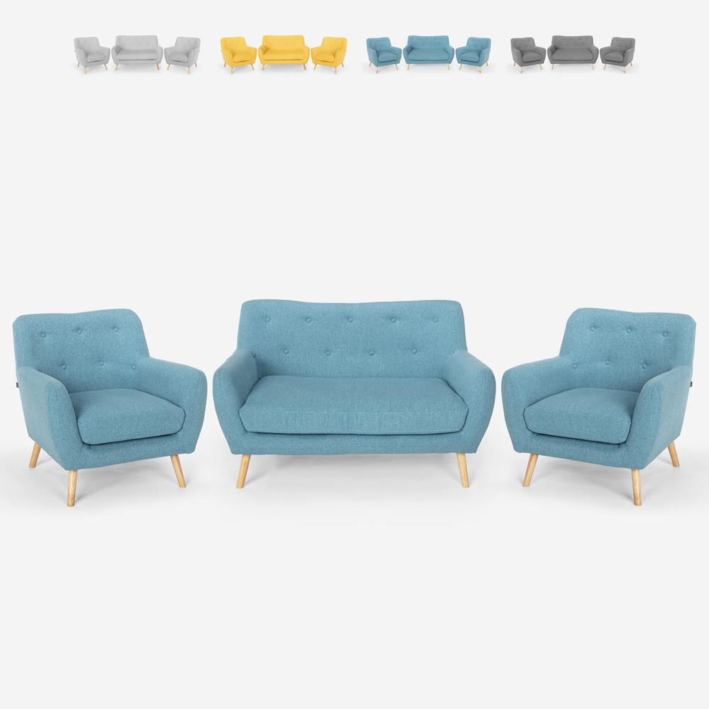 Ensemble de salon 2 fauteuils canapé 2 places design bois et tissu Cleis