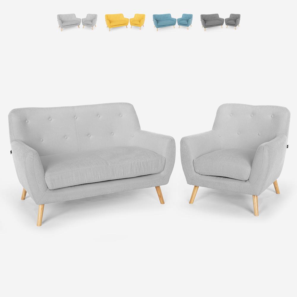Salon fauteuil canapé 2 places design scandinave en bois et tissu Algot