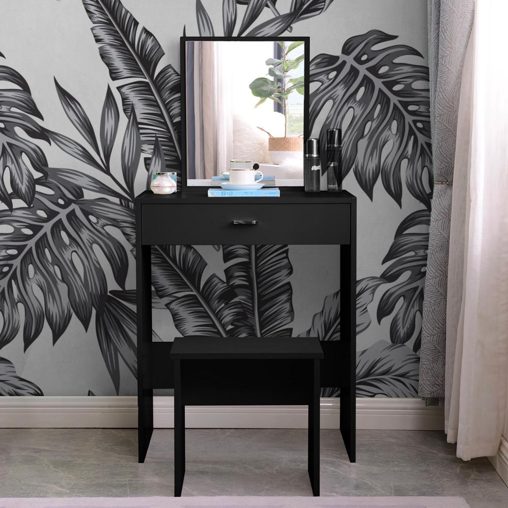 Station de maquillage noire avec tiroir miroir dans la chambre Dalila Black