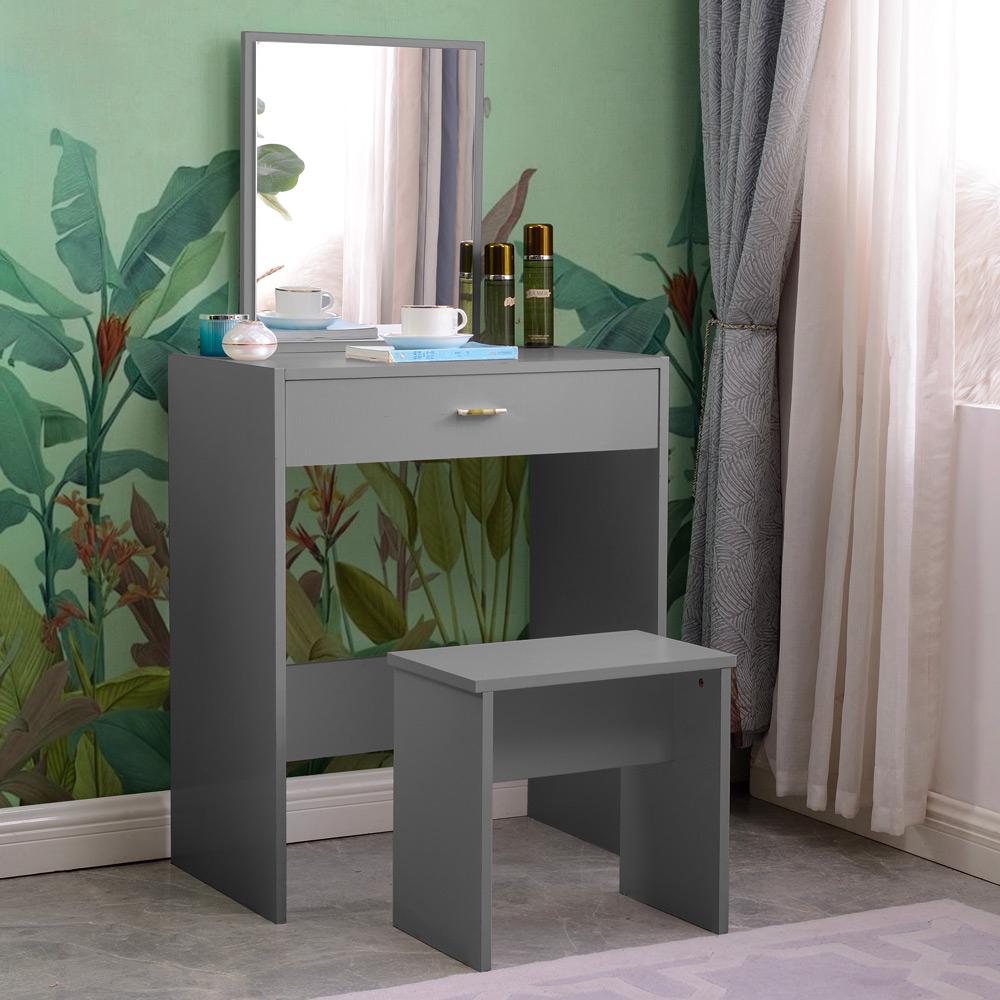 Station de maquillage grise avec chambre à tiroirs miroir Dalila Grey