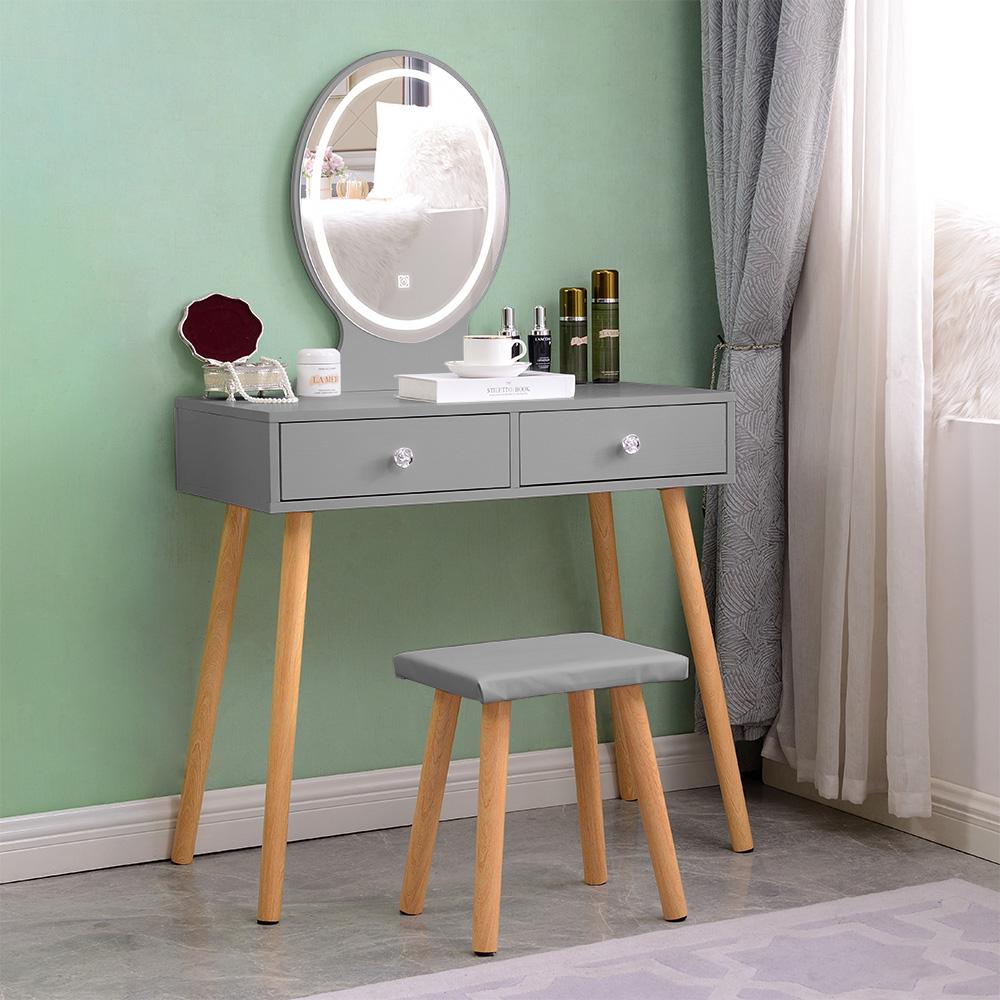 Station de maquillage scandinave grise avec tiroirs miroir LED Serena Grey