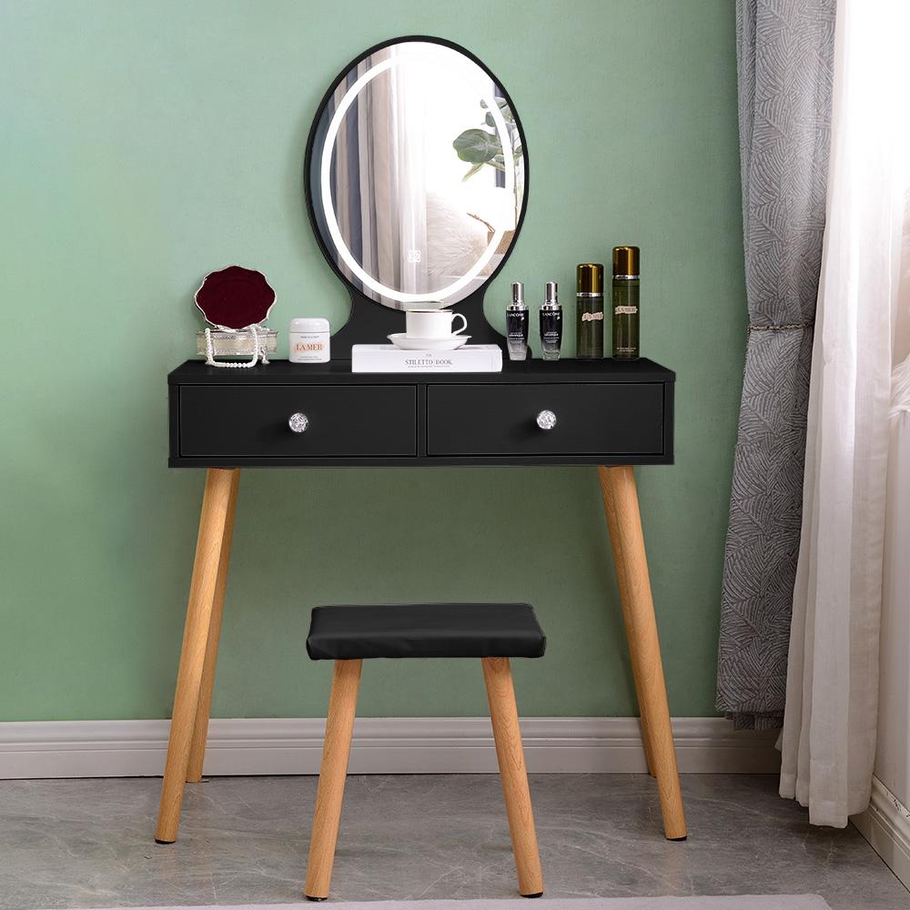 Miroir LED à tiroirs de station de maquillage noir scandinave Serena Black