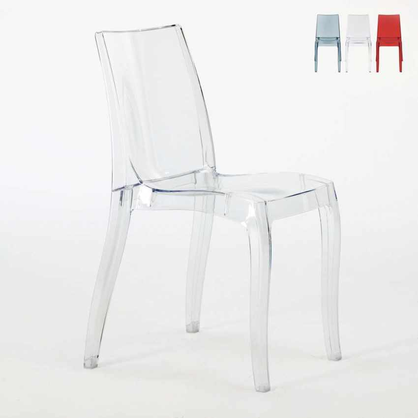 Chaise empilable en polycarbonate transparent pour salle à manger bar CRISTAL LIGHT Grand Soleil