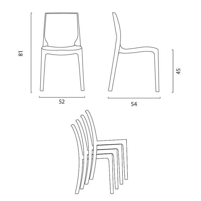 miniature 53 - Chaise en polypropylène empilable Salle à Manger café bar Rome Grand Soleil