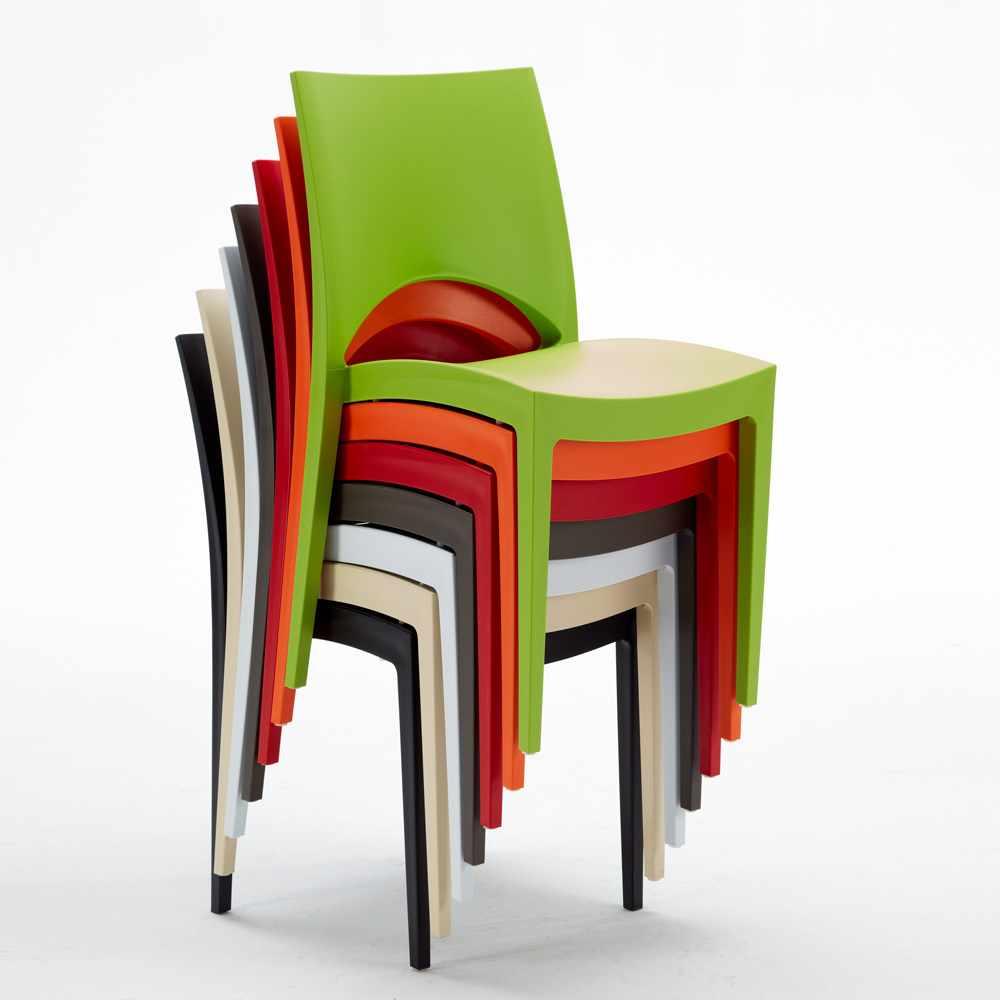 miniature 70 - Chaise en polypropylène empilable salle à manger bar Paris Grand Soleil
