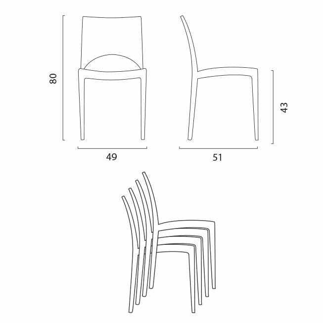 miniature 49 - Chaise en polypropylène empilable salle à manger bar Paris Grand Soleil