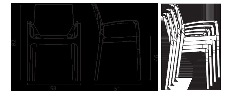 chaises Cream Grand Soleil avec accoudoirs