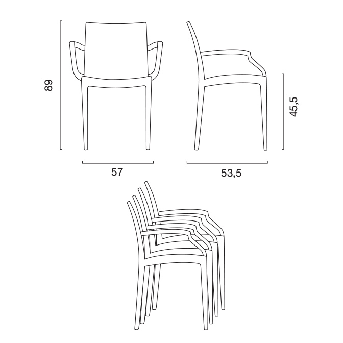 chaises accoudoirs fauteuils bar café restaurant Polyrattan <strong>Bistrot Arm</strong> Grand Soleil